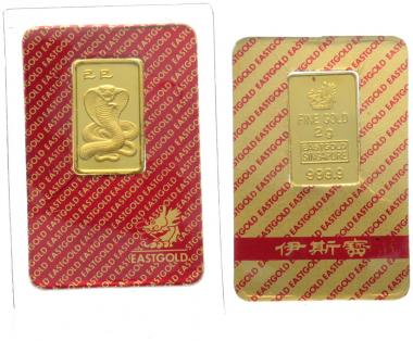 Goldbarren 2 Gramm Schlange East Gold Singapore