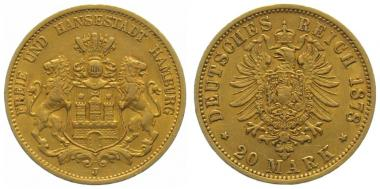 Hamburg 20 Mark 1878 J
