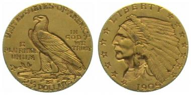 USA 2 1/2 $ 1909 Indian Head